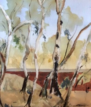 A Watercolour painting by Margaret Morgan-Watkins depicting Landscape Trees with main colour being Blue Brown and Grey and titled Trekking around Woodend (2)
