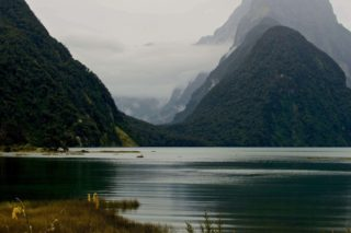 A  photograph by Philip Bell depicting Landscape Mountains with main colour being Grey and titled Milford Sound A