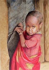 "A Watercolour artwork by Christelle Grey in the Realist style  depicting Children Boy and People with main colour being Brown and Red and titled ""Masaai Boy"
