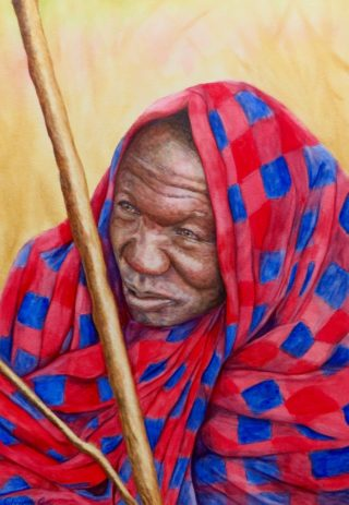 A Watercolour artwork by Christelle Grey in the Realist style  depicting Portrait Man with main colour being Blue Brown and Red and titled Maasai Man