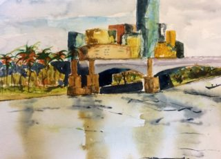 A Watercolour painting by Margaret Morgan-Watkins Bridge City and River with main colour being Blue Green and Grey and titled Princes Bridge Melbourne (2)