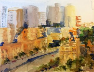 A Watercolour painting by Margaret Morgan-Watkins in the Impressionist style  depicting Buildings City with main colour being Blue Grey and Ochre and titled Spring Street Melbourne