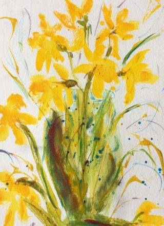 A Watercolour painting by Margaret Morgan-Watkins in the Impressionist style  depicting Flowers with main colour being Yellow and titled Daffodils – Spring is on its Way