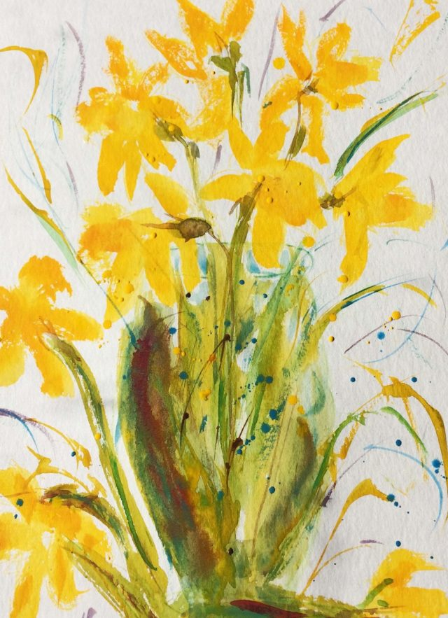Mixed Media Painting by Margaret Morgan-Watkins titled Daffodils – Spring is on its Way