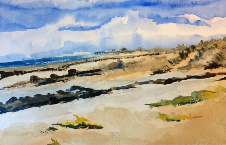 Watercolour Painting by Margaret Morgan-Watkins titled Walking the rock wall Angourie NSW