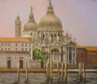 A Pastel artwork by Cathie Berry in the Realist Impressionist style  depicting Buildings with main colour being Grey Orange and Purple and titled Basilica, Venice