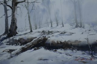 A Watercolour painting by Chan Dissanayake in the Impressionist style  depicting Snow and Trees with main colour being Blue Brown and Grey and titled Snow at Adaminaby NSW