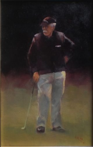 An Oil painting by Cathie Berry in the Realist style  depicting People with main colour being Black Green and Grey and titled Golfer