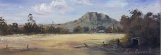 An Acrylic painting by Keri Adcock in the Realist Impressionist style  depicting Landscape Mountains and Rocks and titled Warm Skies Hanging Rock