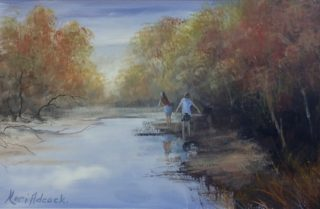An Acrylic painting by Keri Adcock in the Realist Impressionist style  depicting Landscape Children and Swamp with main colour being Blue Brown and Ochre and titled Child's Play