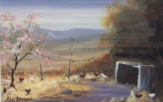 An Acrylic painting by Keri Adcock in the Realist Impressionist style  depicting Landscape Birds Hills and Rural with main colour being Blue Brown and Ochre and titled Chook Yard