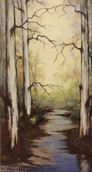 An Acrylic painting by Keri Adcock in the Realist Impressionist style  depicting Landscape Trees with main colour being Blue Brown and Grey and titled After the Rains