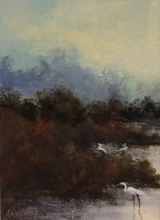 An Acrylic painting by Keri Adcock in the Realist Impressionist style  depicting Landscape Birds Swamp and Water with main colour being Blue Brown and Grey and titled Herrons Foraging