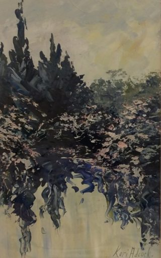 An Acrylic painting by Keri Adcock in the Impressionist style  depicting Landscape Trees and Water with main colour being Blue Cream and Grey and titled Reflections