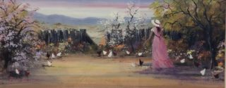 An Acrylic painting by Keri Adcock in the Realist Impressionist style  depicting Landscape Birds and Rural with main colour being Blue Brown and Ochre and titled Feeding the Hens