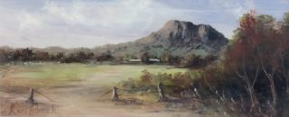 An Acrylic painting by Keri Adcock in the Realist Impressionist style  depicting Landscape Hills Rocks and Rural with main colour being Blue Brown and Green and titled Hanging Rock Cloudy Day