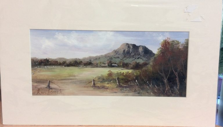 Acrylic Painting by Keri Adcock titled Hanging Rock Cloudy Day