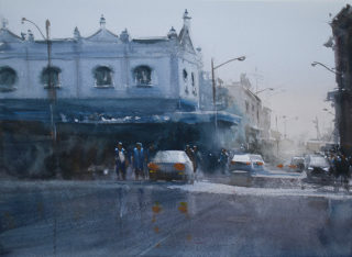 A Watercolour painting by Chan Dissanayake in the Impressionist style  depicting Buildings Streets with main colour being Black Blue and Purple and titled Molesworth Street Lismore NSW_