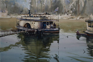 A Watercolour painting by Chan Dissanayake in the Impressionist style  depicting River Boats and Rural with main colour being Black Blue and Green and titled Paddle-Steamers-Echuca VIC