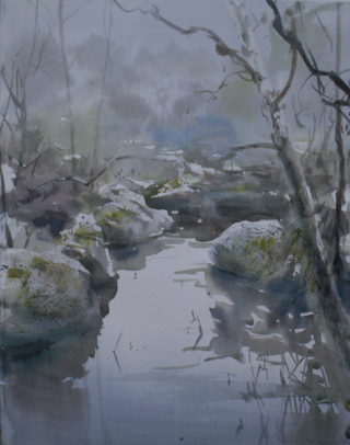 A Watercolour artwork by Chan Dissanayake in the Impressionist style  depicting River with main colour being Blue Green and Grey and titled Rock pool