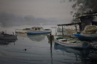 A Watercolour painting by Chan Dissanayake in the Impressionist style  depicting Boats and River with main colour being Blue and Grey and titled Misty Boats