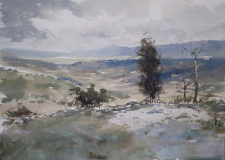 A Watercolour painting by Chan Dissanayake in the Impressionist style  depicting Landscape Bush Hills and Mountains with main colour being Blue and White and titled View From Namadgi National Park ACT_
