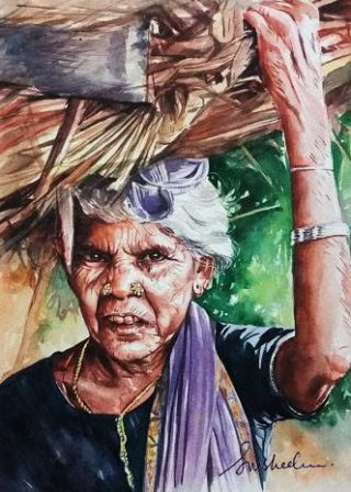 A Watercolour artwork by Susheela Giri in the Contemporary Realist style  depicting Portrait People Trees and Tropical with main colour being Brown Green and Ochre and titled Hardship