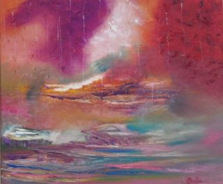 An Oil painting by Belinda McDonnell in the Abstract style  depicting  Storm with main colour being Blue Brown and Green and titled Carm your storm