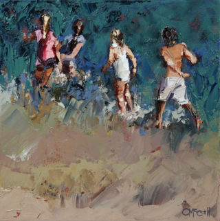 An Oil painting by Claire McCall in the Impressionist style  depicting Children Beach and Water and titled Braving The Waves VI