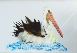 A Mixed Media artwork by Christine Sinclair in the Illustrative style  depicting Animals Birds with main colour being Black Blue and Cream and titled Pelican Pete