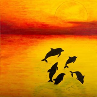 An Acrylic painting by Christine Sinclair Fish with main colour being Red and Yellow and titled Play Time Full Moon