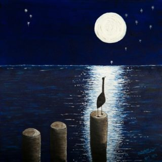 An Acrylic painting by Christine Sinclair in the Illustrative style  depicting Landscape Moon with main colour being Black and Blue and titled Reflection Full Moon