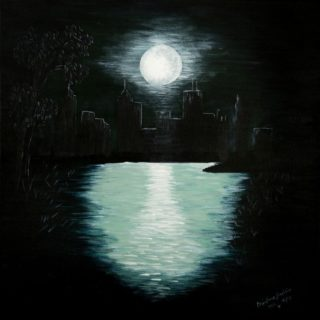 An Acrylic painting by Christine Sinclair in the Illustrative style  Moon with main colour being Black and titled Central Park Full Moon