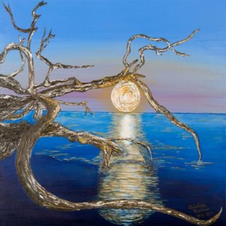 An Acrylic painting by Christine Sinclair in the Illustrative style  depicting Landscape Moon with main colour being Blue and titled Mother Nature's Mystical Full Moon