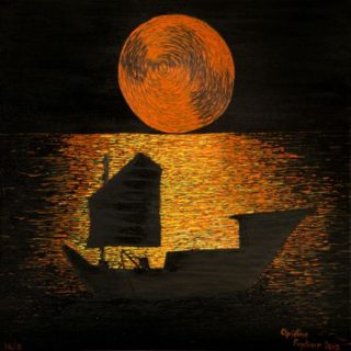 An Acrylic painting by Christine Sinclair in the Illustrative style  depicting Boats Moon with main colour being Black Brown and Orange and titled Eastern Moon