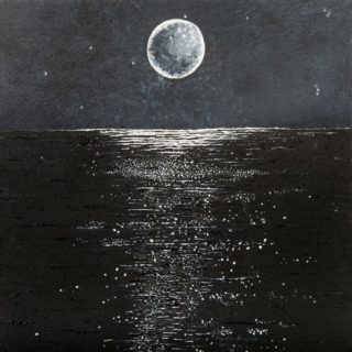 An Acrylic painting by Christine Sinclair in the Illustrative style  depicting Landscape Moon with main colour being Black and Grey and titled Dreaming Moon