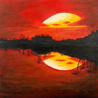 An Acrylic painting by Christine Sinclair in the Illustrative style  depicting Landscape Moon and titled Tequila Moon