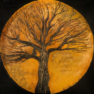 An Acrylic painting by Christine Sinclair in the Illustrative style  depicting Trees Moon and titled Liquid Gold Moon