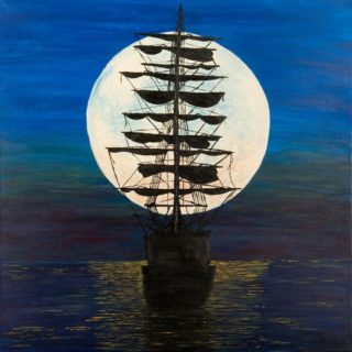 An Acrylic painting by Christine Sinclair in the Illustrative style  depicting Boats and Moon with main colour being Black Blue and White and titled Ancient Thoughts Moon