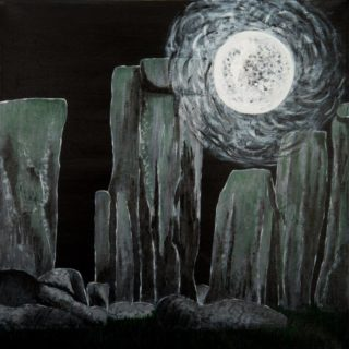 An Acrylic painting by Christine Sinclair in the Illustrative style  Moon with main colour being Black and Grey and titled Mystical Moon