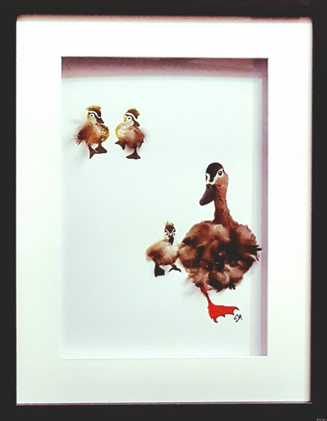 Mixed Media Painting by Christine Sinclair titled Mother Duck Knows Best