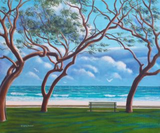 An Acrylic painting by Gregory Pastoll in the Realist style  depicting Beach Sea and Trees with main colour being Blue Brown and Green and titled City beach in Winter