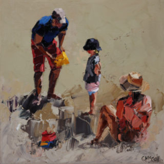 An Oil painting by Claire McCall in the Impressionist style  depicting Beach Children and People and titled Family Of Three