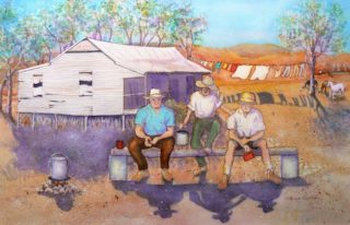 A Watercolour painting by Glenys Gaston in the Contemporary style  depicting People Bush and Outback with main colour being Blue Ochre and Purple and titled Resting