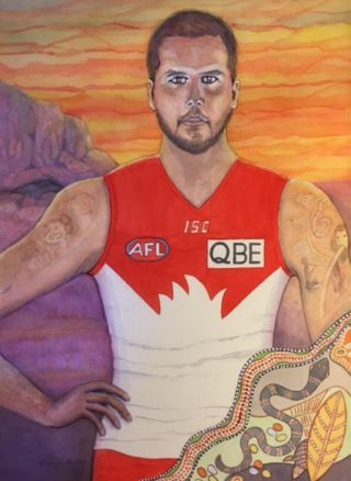 A Watercolour painting by Glenys Gaston depicting Man with main colour being Orange Purple and Red and titled Number 23 Lance Franklin