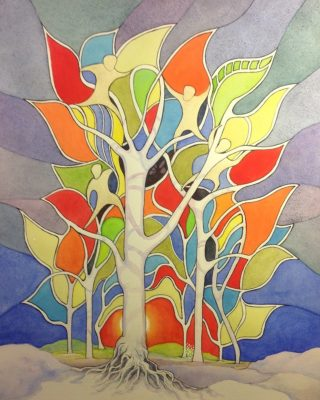 A Watercolour painting by Glenys Gaston Trees with main colour being Blue Orange and White and titled Spirited II