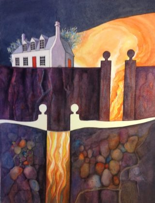 A Watercolour painting by Glenys Gaston depicting Landscape Buildings with main colour being Black Brown and Cream and titled Over the Wall