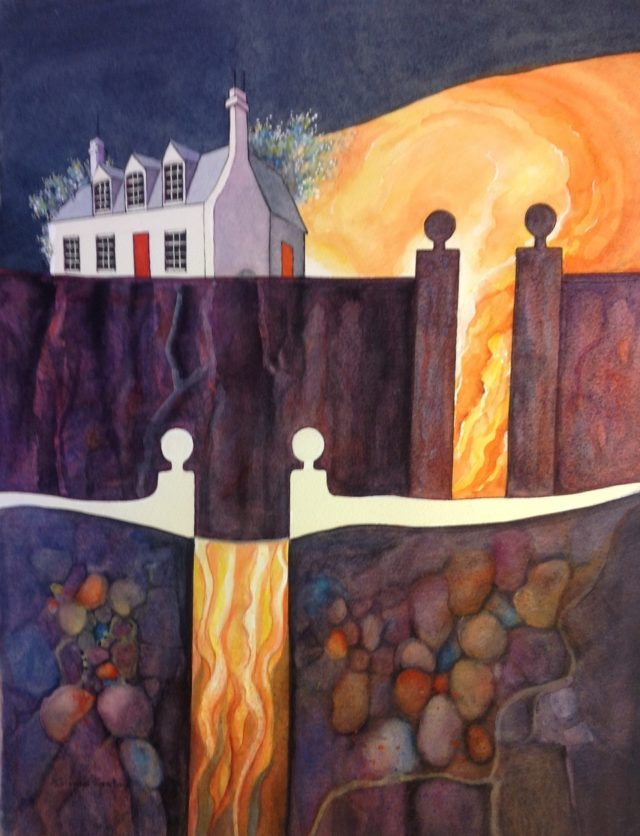 Watercolour Painting by Glenys Gaston titled Over the Wall