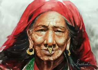 A Watercolour artwork by Susheela Giri in the Contemporary Realist style  depicting Portrait People Rural and Woman with main colour being Black Brown and Ochre and titled Strong