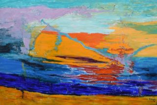 An Acrylic painting by Sonja Keldor-Gudiksen in the Abstract style  depicting Landscape Sunset and Tropical with main colour being Blue Orange and Purple and titled Tropical Sunset